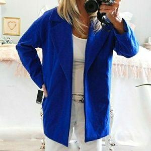 NWT-LIZ CLAIBORNE ROYAL BLUE ONE BUTTON COAT